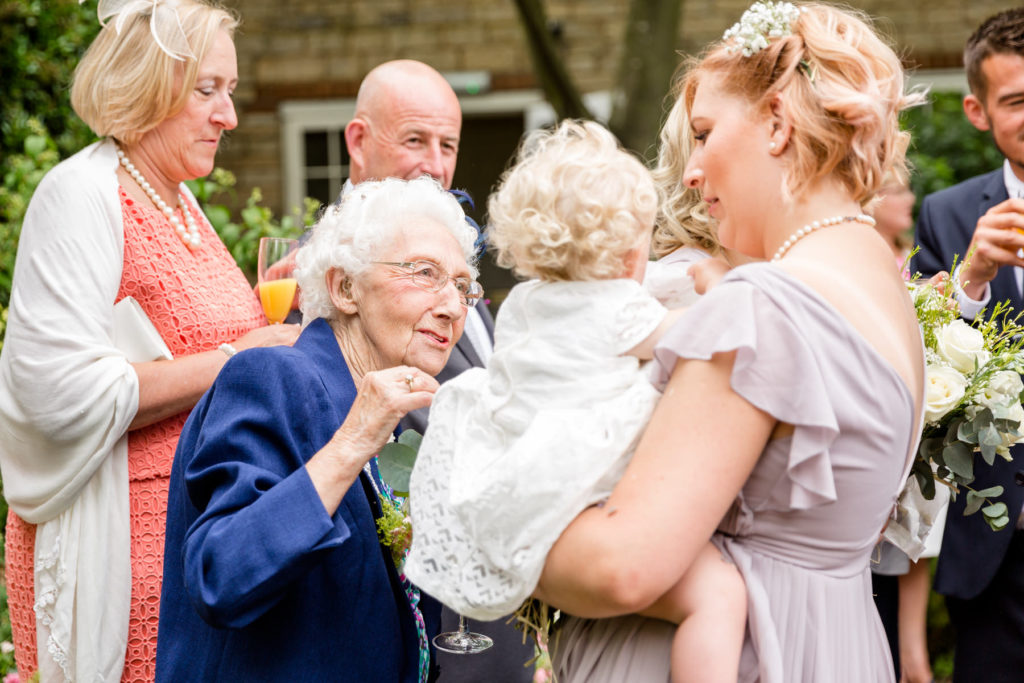 Three generations at a wedding