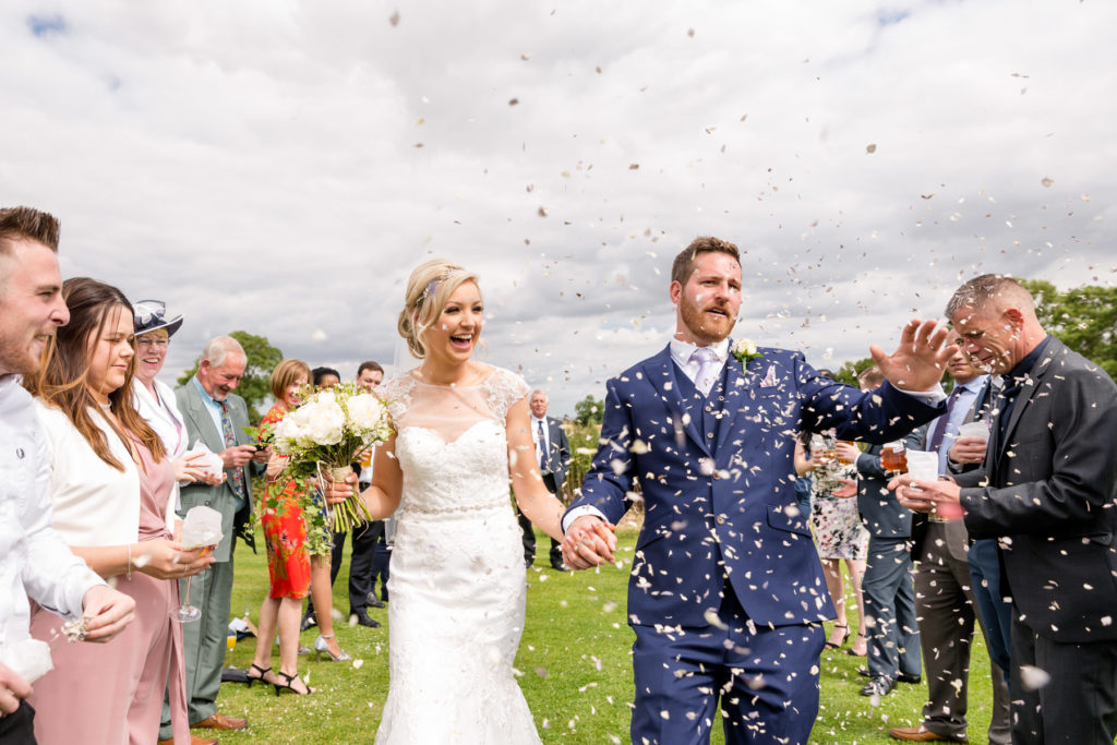 Confetti at Rutland wedding
