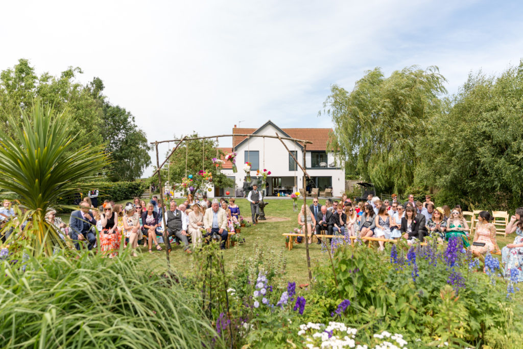 Outdoor festival style wedding ceremony