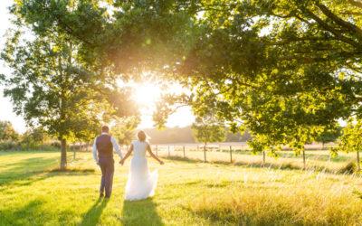 Couple walking in golden hour