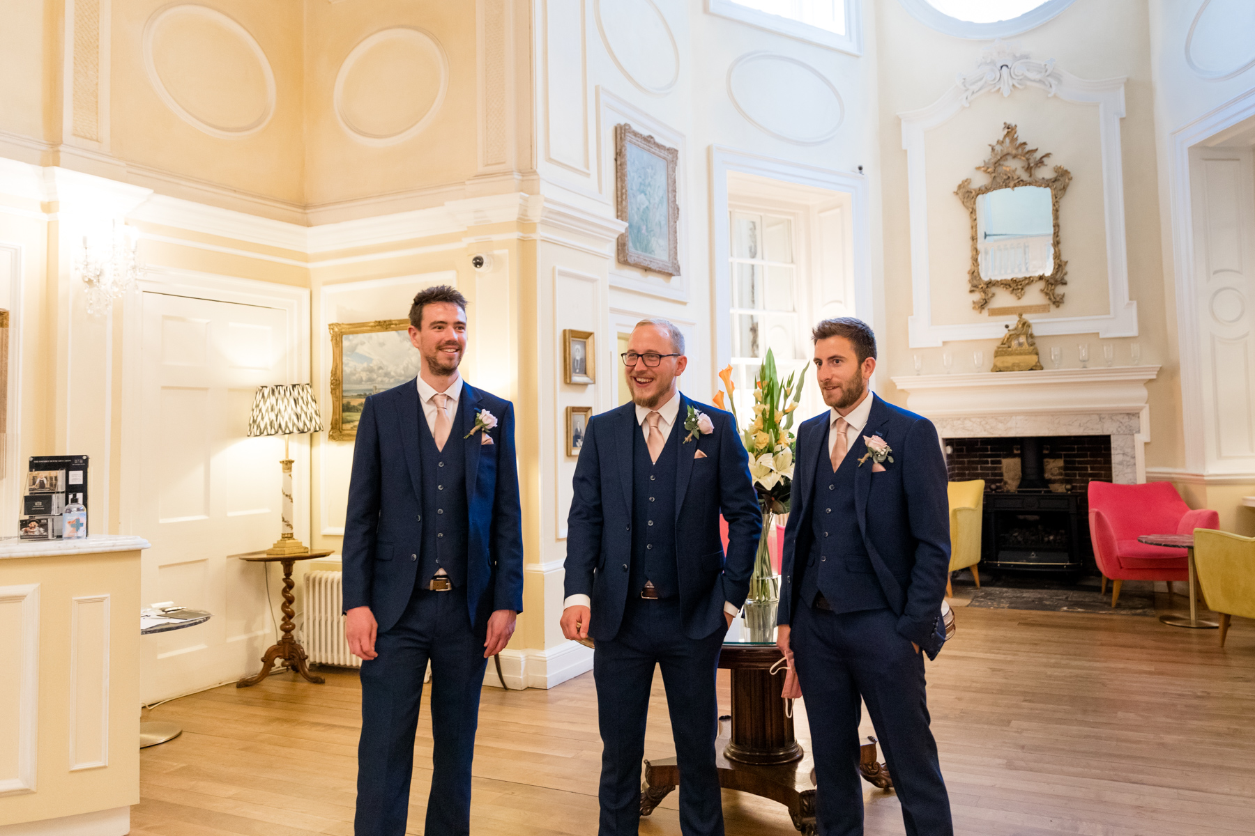 Groom and groomsman at the Assembly house Norwich
