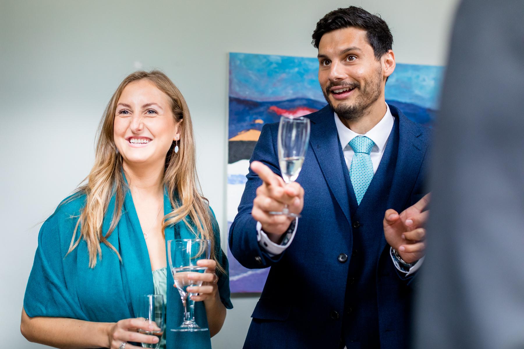 Wedding guests laughing Norfolk