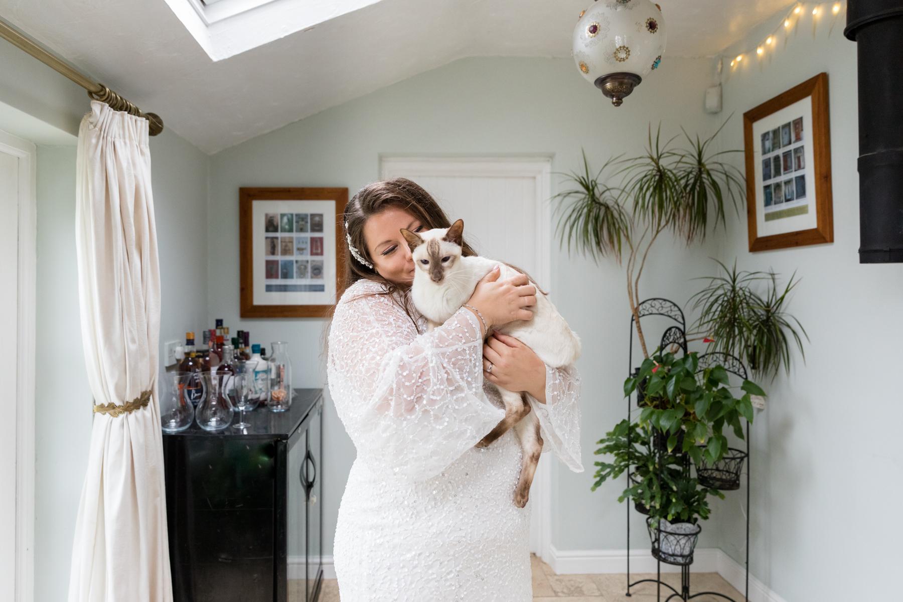 Bride with her cat