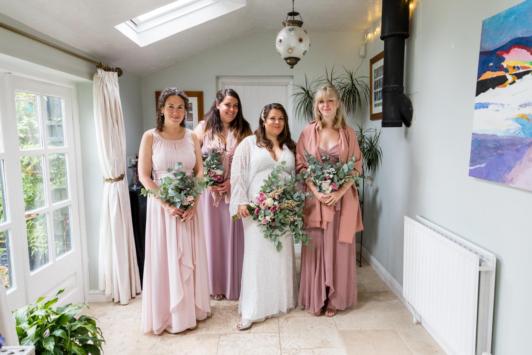 Bride and bridesmaids in Norfolk