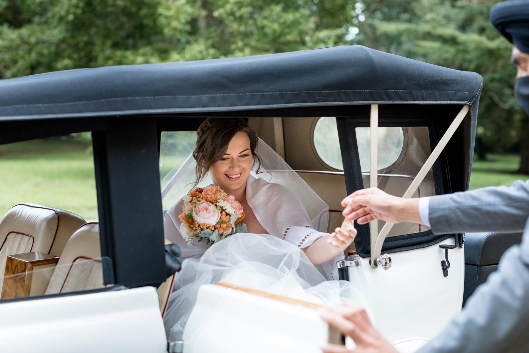 Bride arriving at Deene Park