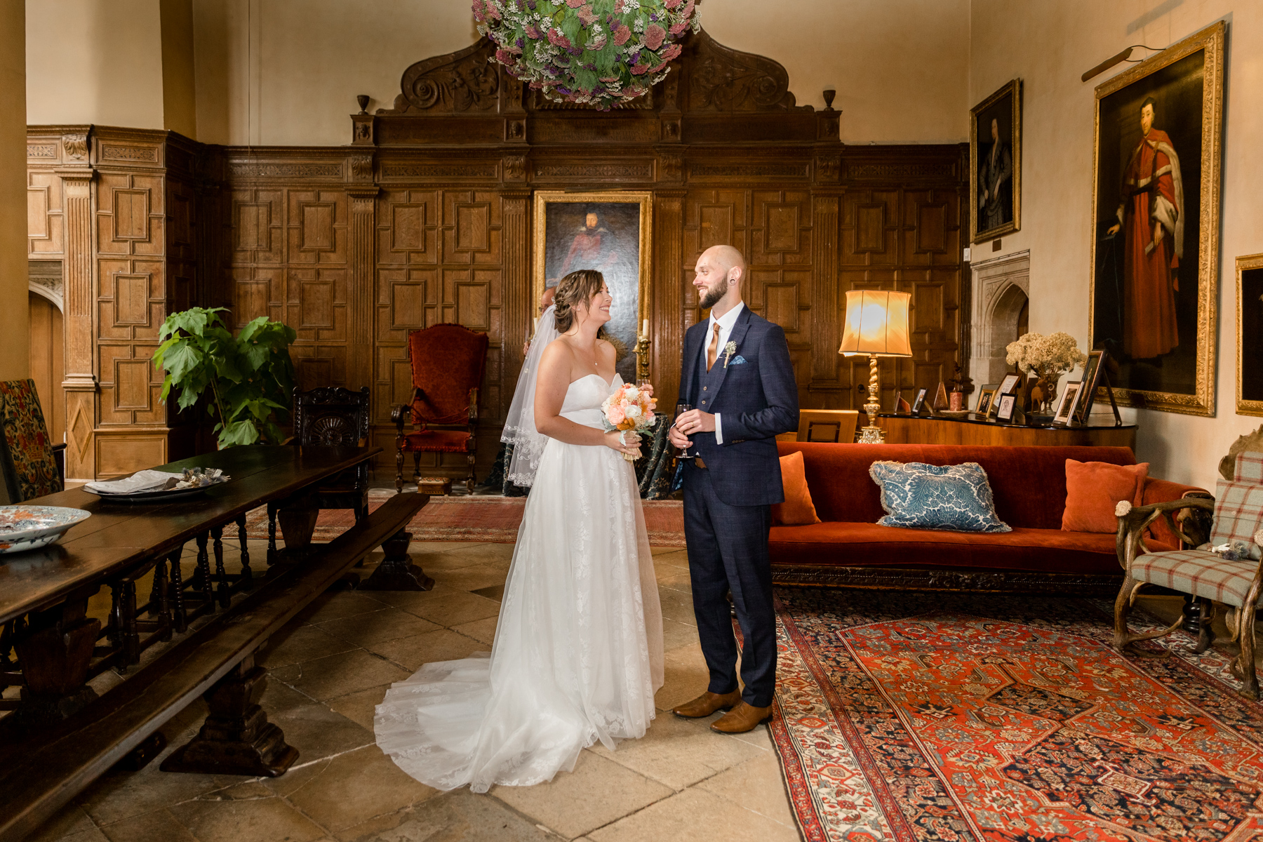 Bride and groom in the great hall
