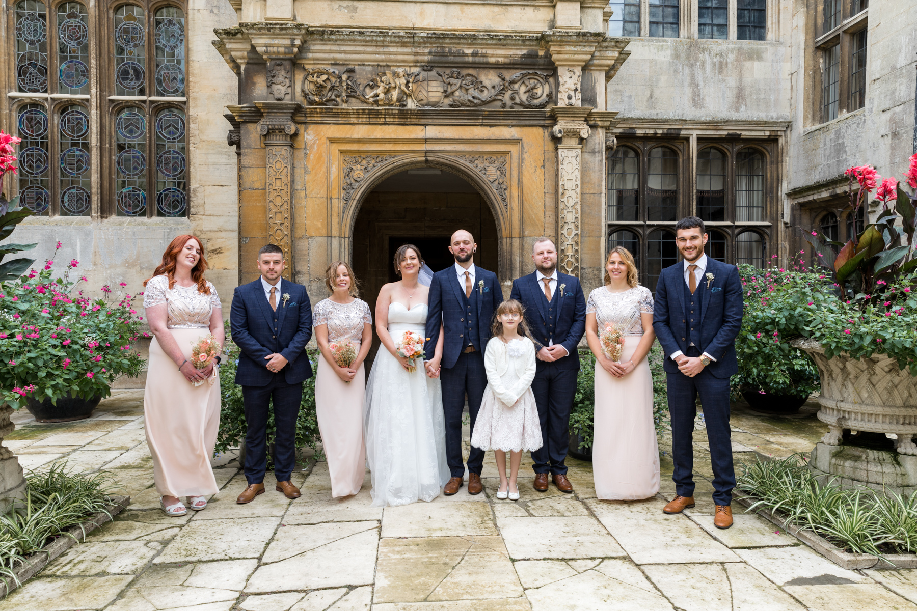 Bridal party at Deene Park Corby