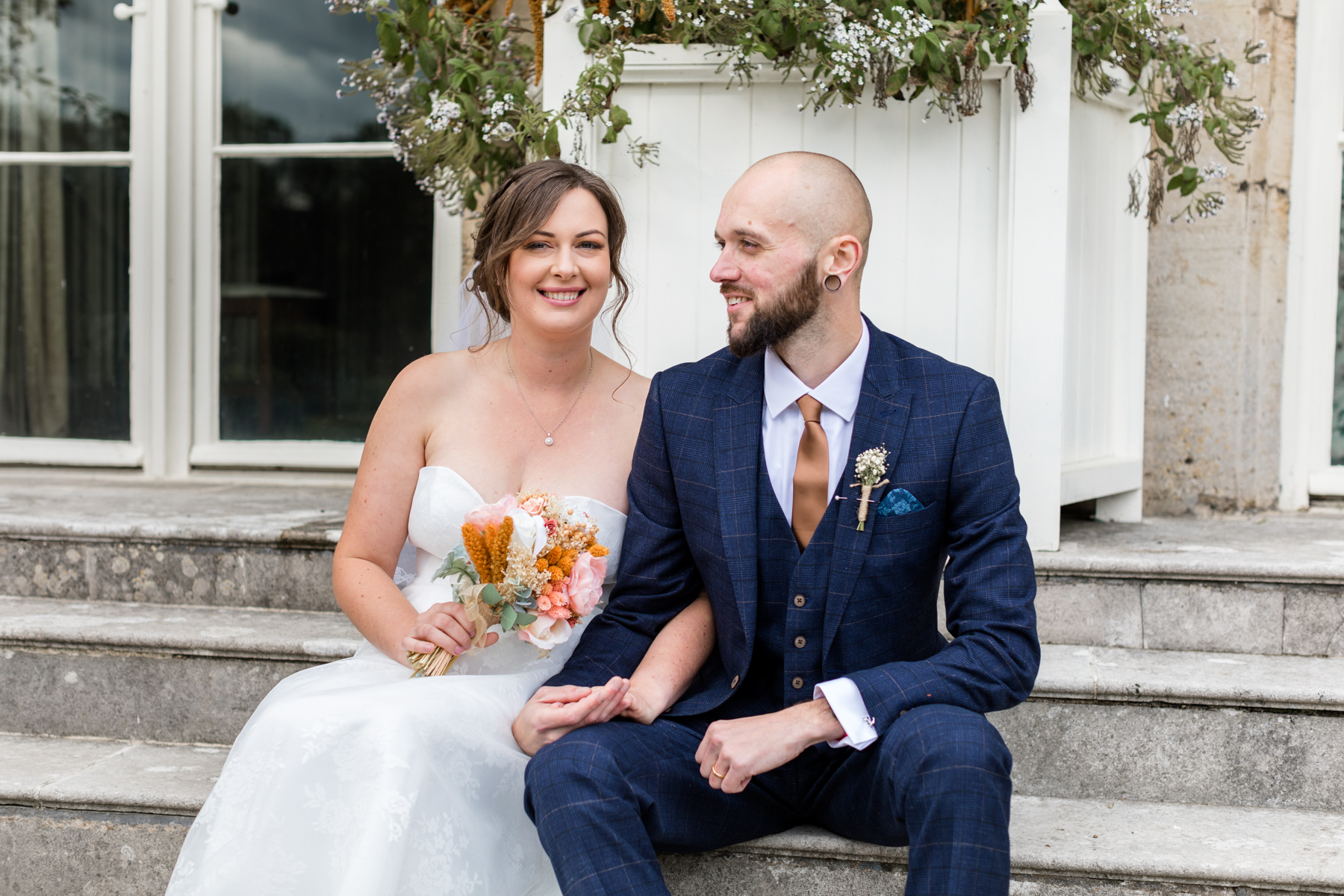 Couple smiling after marrying