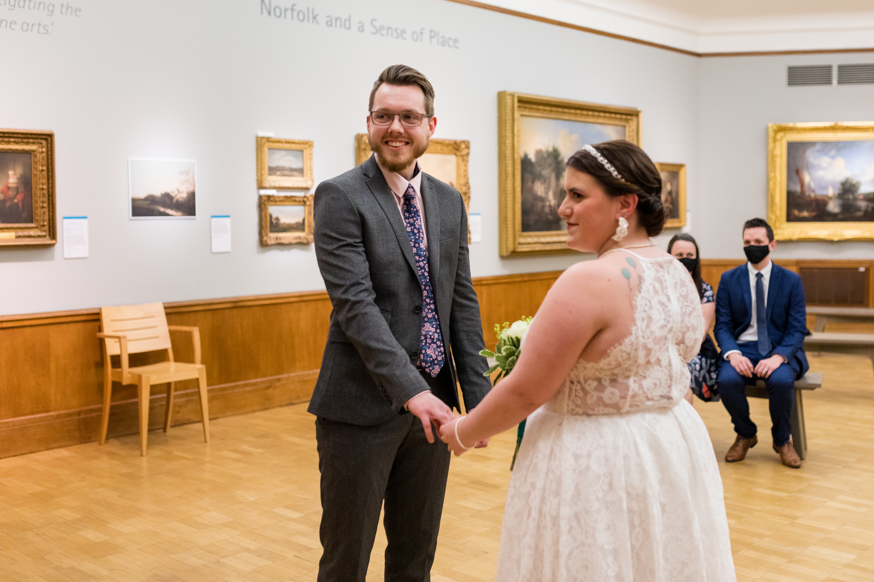 Bride and groom at Norwich Castle