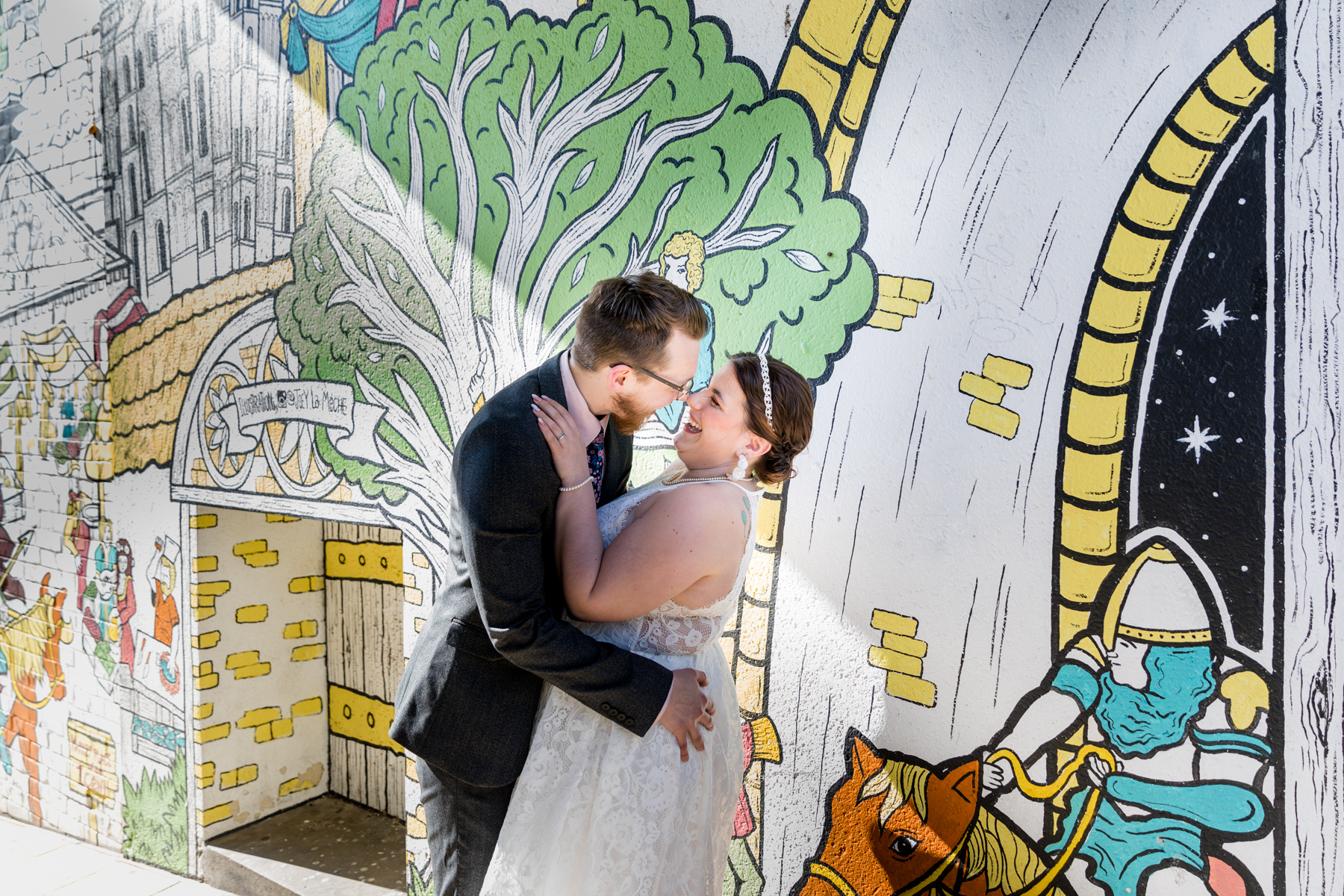 Bride and groom with graffiti in Norwich