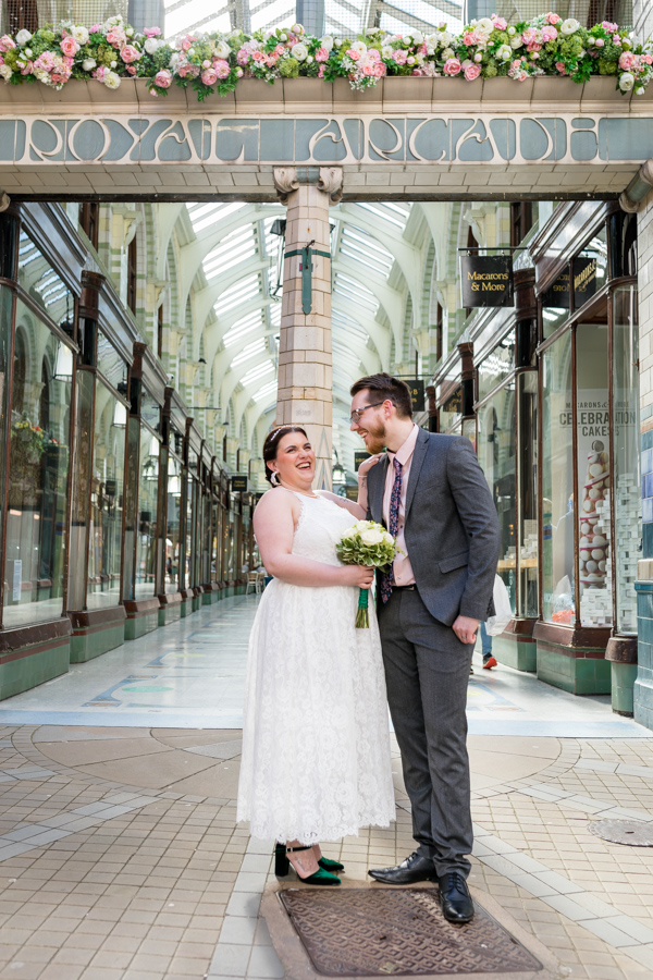 Bride and groom in Grand Arcade