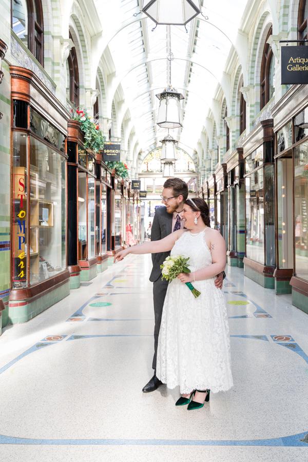 Bride and groom in Norwich Arcade